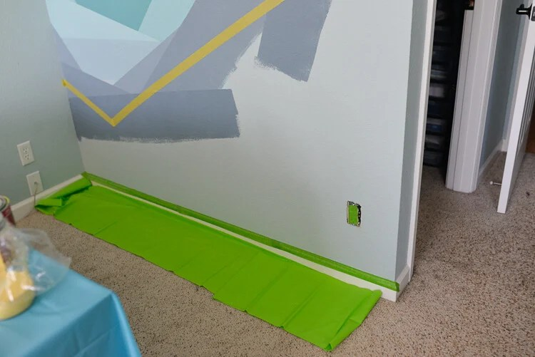 painted flower wall mural using Frog Tape - step 10