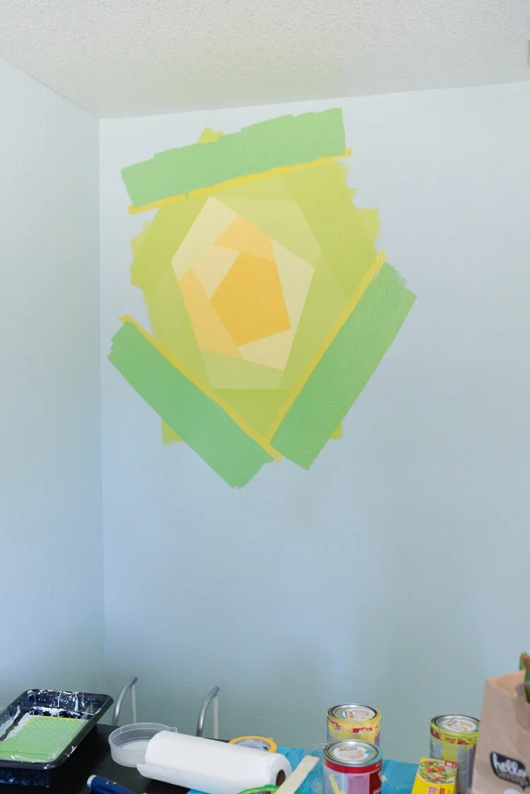 painted flower wall mural using Frog Tape - step 7
