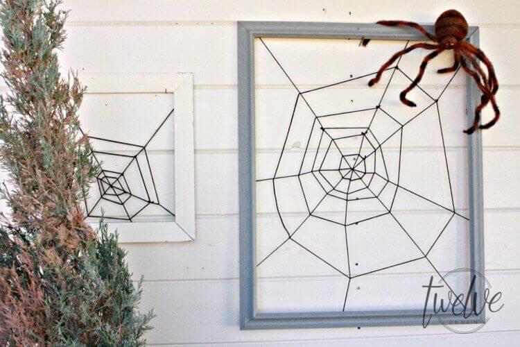 framed spiderweb craft