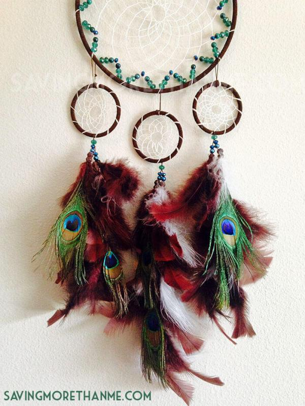 DIY Peacock Dreamcatcher -- If you love the delicate, boho style of a dreamcatcher, here are 10+ dreamcatcher tutorials for you to try to make your own!