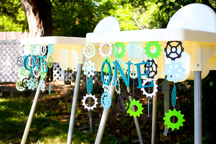 Robot Birthday Party - high chairs decorated