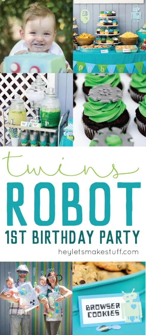 Robot Birthday Party pin image