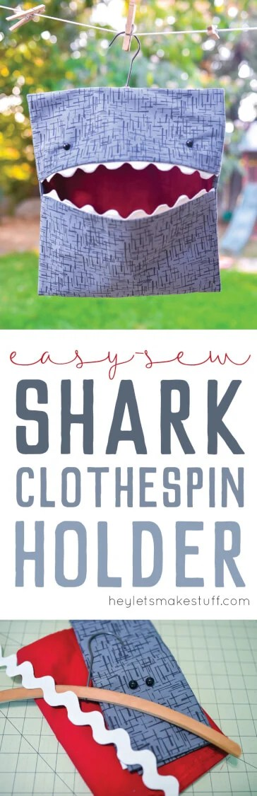 Make laundry day a little more fun with this easy-sew shark clothespin holder! Part of Polka Dot Chair's Summer Sewing series! via @heyletsmakestuf