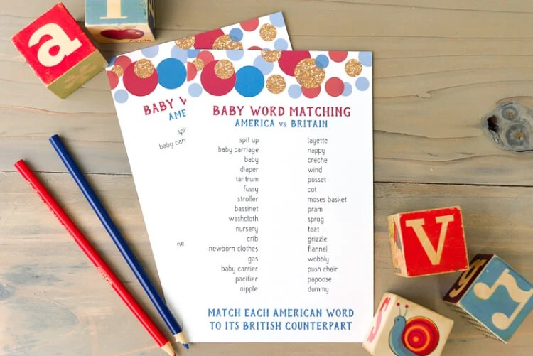 American and British baby shower matching game