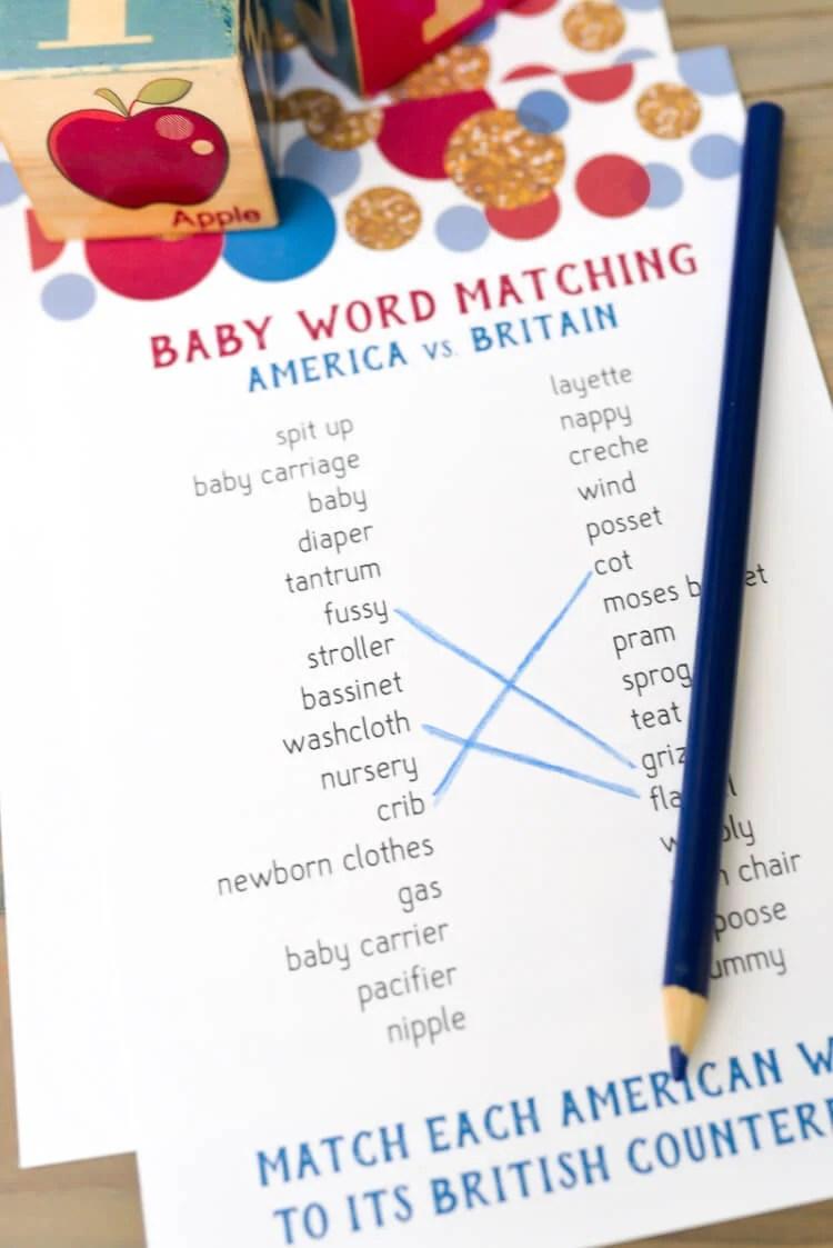 American and British baby shower matching printable