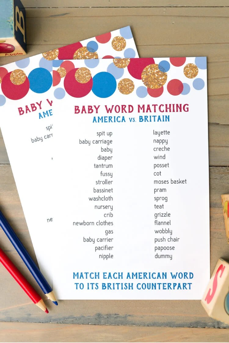 American and British Word Match Baby Shower Game  Hey Lets Make Stuff