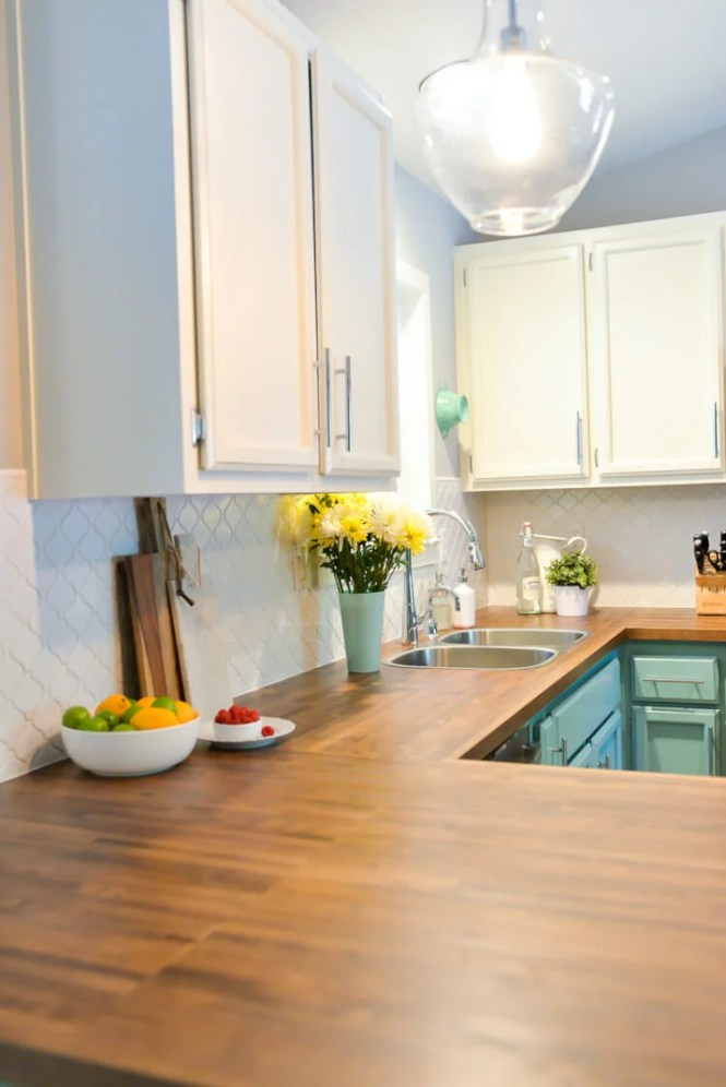 How to install a butcher block countertop bstcountertops for Bathroom countertop installation