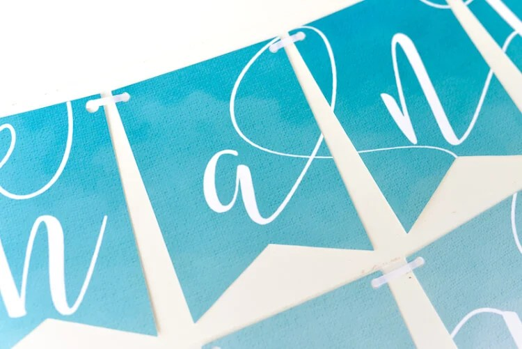 up close of Thank you banner using Print then Cut