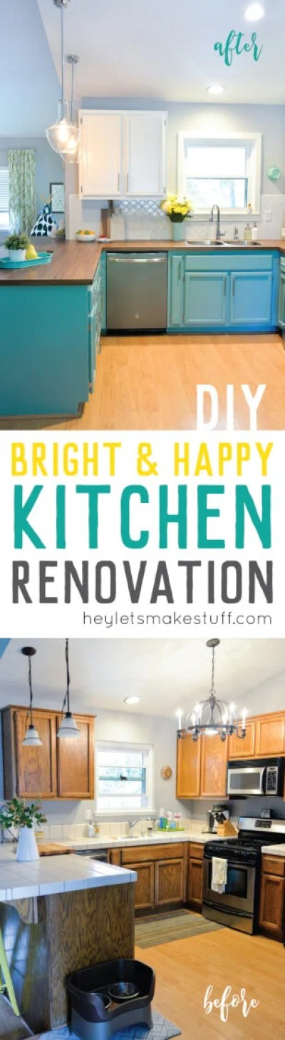 Our budget kitchen renovation reveal! We totally transformed our dated 1980's oak kitchen with bright teal cabinets, chrome lighting, and gorgeous walnut-stained butcher block countertops
