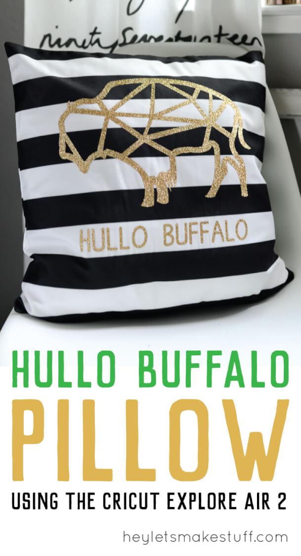 hullo buffalo SVG glitter vinyl cutout on pillow pin image