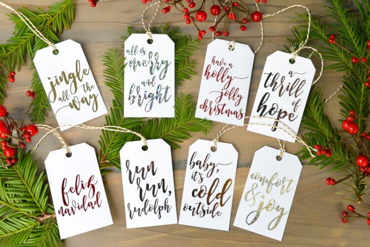 foiled gift tags for Christmas