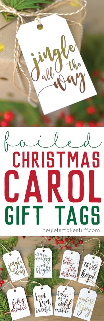 foliled Christmas gift tags