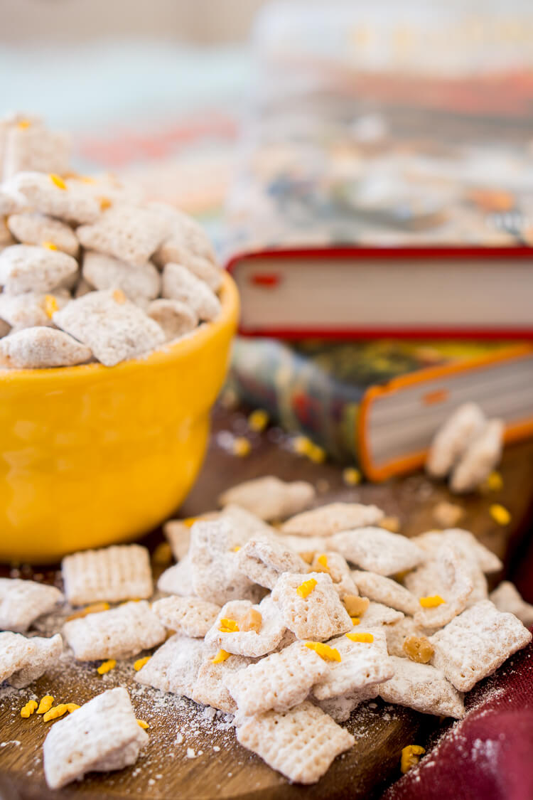 These sweet and buttery butterbeer muddy buddies are the perfect treat for Harry Potter parties and Fantastical Beast fetes. Grab your wand and conjure up this delectable dessert today!