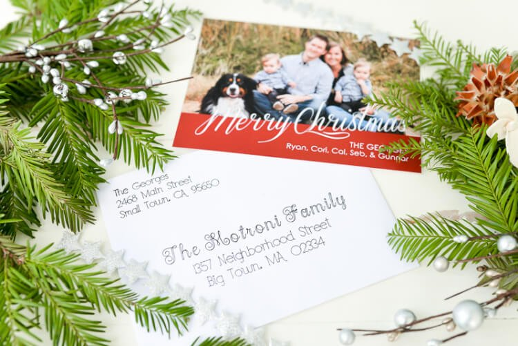 "Put your Cricut Explore to work—have it address Christmas cards! Using the pen tool, the Cricut Explore can beautifully ""hand letter"" your Christmas cards for you."