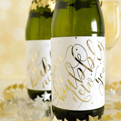 DIY Foiled Champagne Bottle Labels