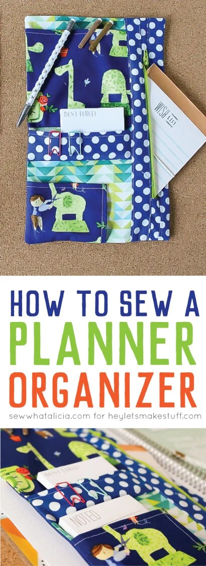 Need a better way to keep your planner organized? Sew a custom planner organizer to hold all of your pens and stickers! via @heyletsmakestuf
