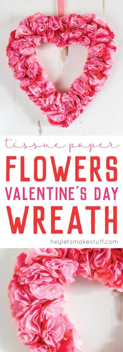 Tissue Paper Flower Valentine S Day Wreath Easy