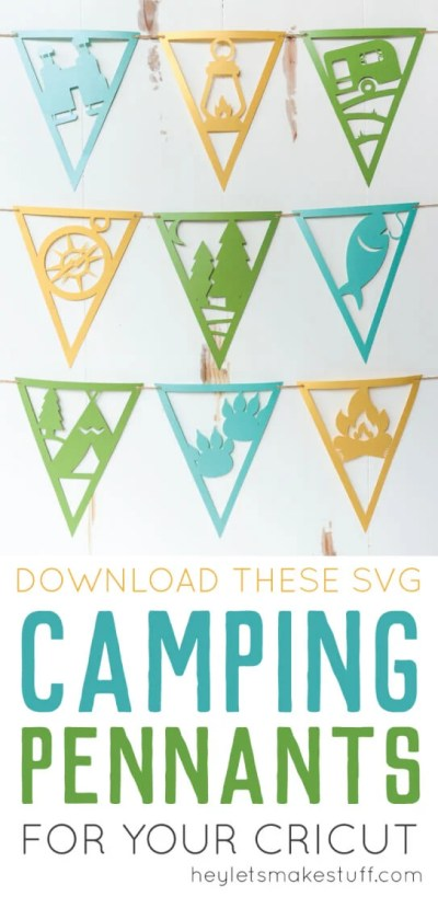 These paper camping pennants, cut on the Cricut or Silhouette, are perfect for a camping themed party or kid's bedroom. Get all nine detailed files.