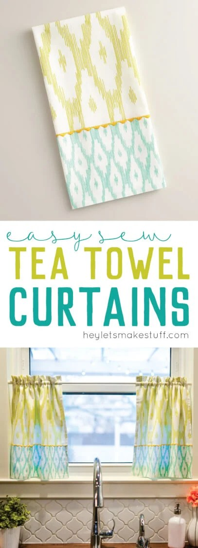 Making tea towel curtains couldn't be more simple! Just two straight lines of sewing per curtain!  via @heyletsmakestuf