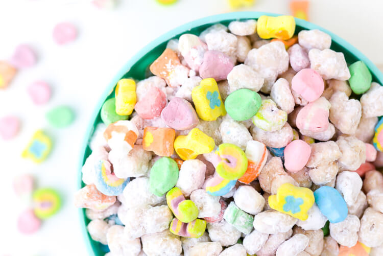 These Lucky Charms muddy buddies combine the best of traditional muddy buddies with the sweet marshmallowy goodness of Lucky Charms! Whip up a batch for St. Patrick's Day or whenever you feel you need the luck of the Irish.