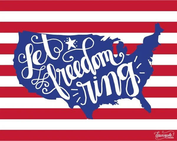 Dawn Nicole Let Freedom Ring Print - Celebrate the 4th of July with these free patriotic printables! Get more than 20 red, white, and blue printables from your favorite bloggers!