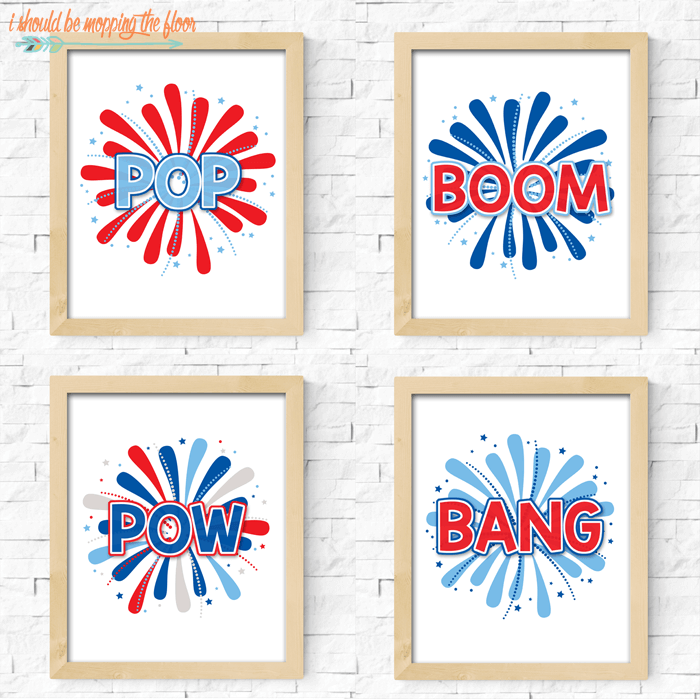 I Should Be Mopping the Floor - Four Fireworks Printables - Celebrate the 4th of July with these free patriotic printables! Get more than 20 red, white, and blue printables from your favorite bloggers!