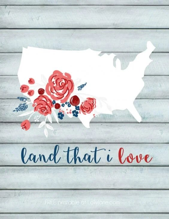 Lolly Jane Land That I Love Print - Kensie Kate America Prints - Celebrate the 4th of July with these free patriotic printables! Get more than 20 red, white, and blue printables from your favorite bloggers!