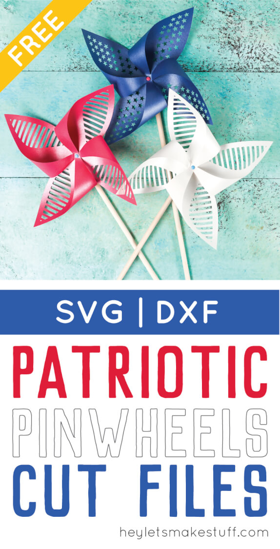 Get the free SVG/DXF cut files for these decorative patriotic pinwheels! Delicate cut-outs made using your Cricut Explore make these star-spangled pinwheels a hit at any 4th of July party. via @heyletsmakestuf