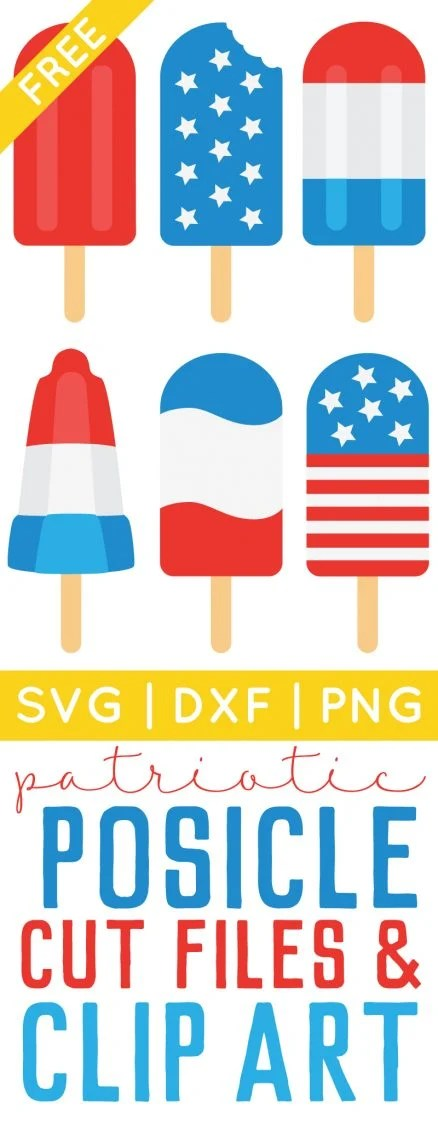 Download 4th of July Popsicle Cut Files + Clip Art - Freebie Friday