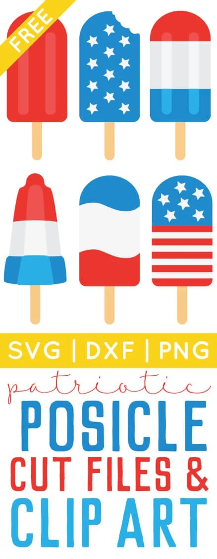 Get ready for Independence Day with free 4th of July popsicle SVG / DXF cut files and PNG clip art! Eight delicious designs for all of your patriotic projects.
