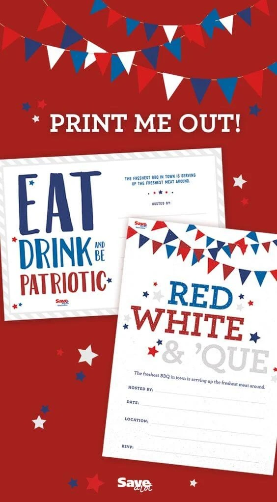 Save-a-Lot Barbecue Invitations - Celebrate the 4th of July with these free patriotic printables! Get more than 20 red, white, and blue printables from your favorite bloggers!