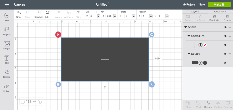 Using Score Lines in Cricut Design Space screenshot