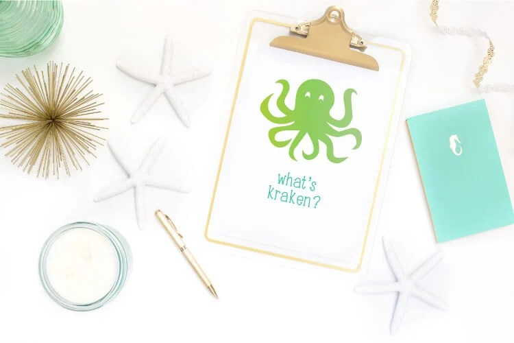 What's Kraken? Dive into summer with free under the sea cut files and PNG clip art! Eleven adorable designs for all of your under the sea projects.