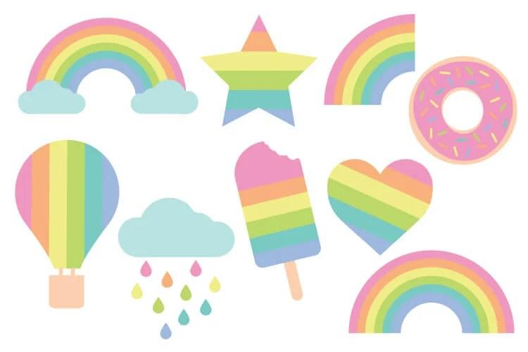 Pastel Rainbow Cut Files + Clip Art