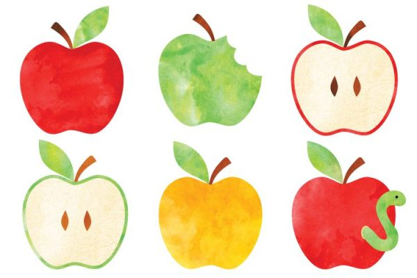 watercolor apple clip art - freebie