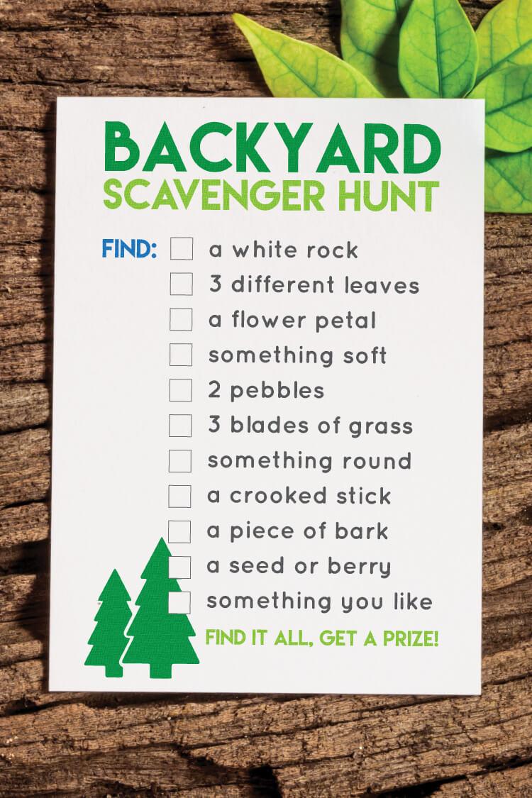 Printable Back Yard Scavenger Hunt Hey Let S Make Stuff