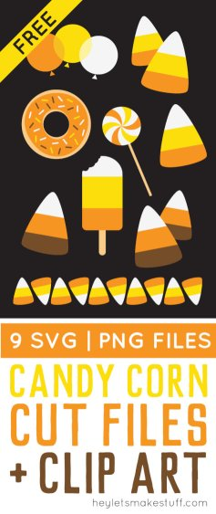 It's time for a spooky treat with these delicious candy corn cut files and PNG clip art! Nine designs for all of your Halloween projects.