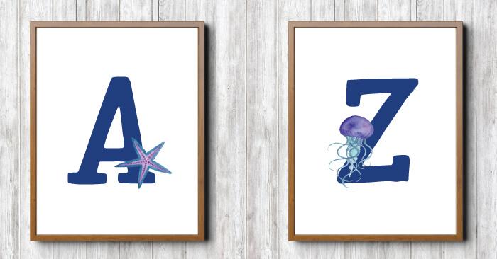 ocean nursery printables A Z