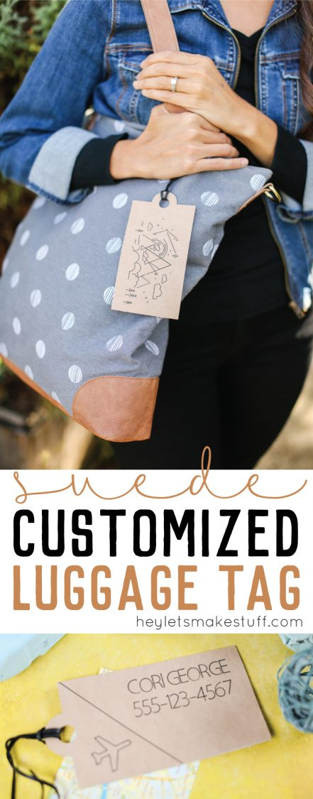 Use your Cricut to make this customized suede luggage tag. Not only will the Cricut cut it for you, but it will also write whatever text you want!