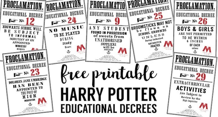 Harry Potter Educational Decrees - Paper Trail Design