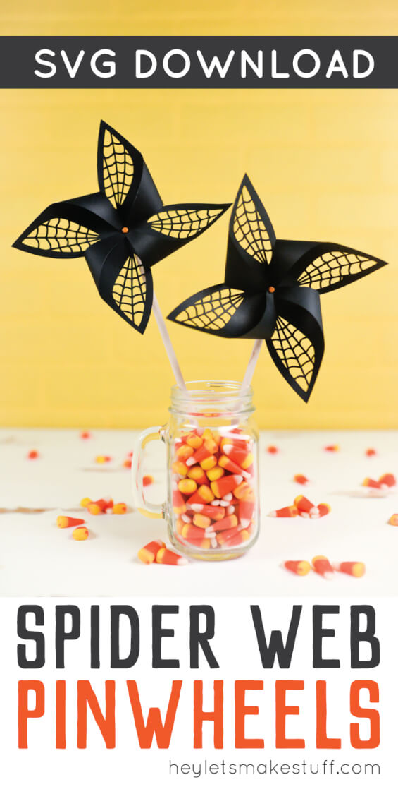 Get the SVG cut files for these Halloween spider web pinwheels! Delicate web cut-outs make these spooky pinwheels a hit at any Halloween party. via @heyletsmakestuf