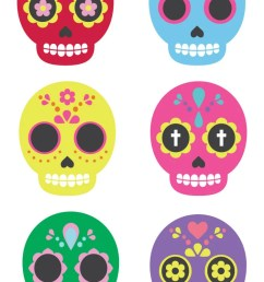 celebrate dia de los muertos with these these brightly colored sugar skull clip art files  [ 750 x 1125 Pixel ]