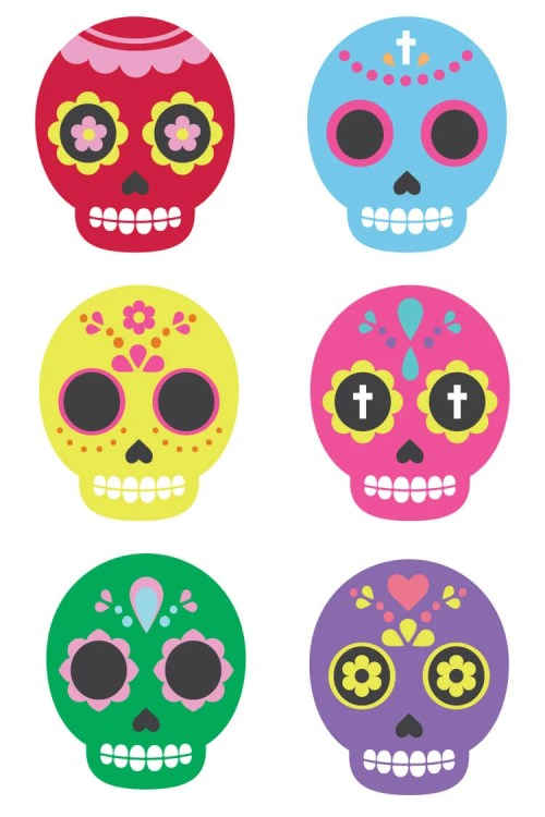 small resolution of celebrate dia de los muertos with these these brightly colored sugar skull clip art files