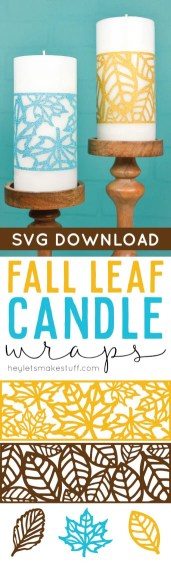 Cut these delicate fall leaf candle wraps on your Cricut or other cutting machine, and use them for fall or Thanksgiving table decor, on your mantel, or anywhere else you have yummy fall candles in your home!