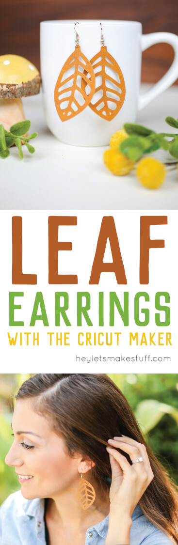 These DIY fall leaf earrings are designed to be cut on your Cricut or other cutting machine using faux suede or leather. This fun accessory project comes together in less than 10 minutes! via @heyletsmakestuf