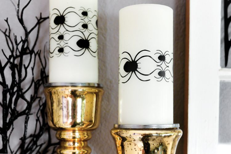 Cut these delicate spider candle wraps on your Cricut or other cutting machine, and use them for Halloween table decor, on your mantel, or anywhere else you have spooky Halloween candles in your home!