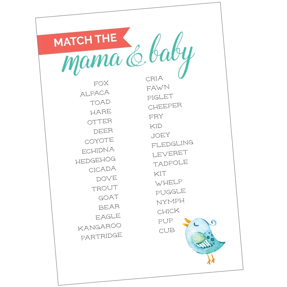 picture relating to Printable Match Game called Totally free Printable Kid Shower Video game: Game the Mama in direction of Her Boy or girl