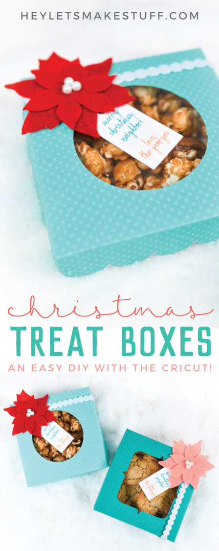 Want to make Christmas gifts for neighbors? Bake up some cookies and use your Cricut Explore or Cricut Maker to create these holiday treat boxes! Any neighbor would appreciate a prettily packaged sweet treat this holiday season.