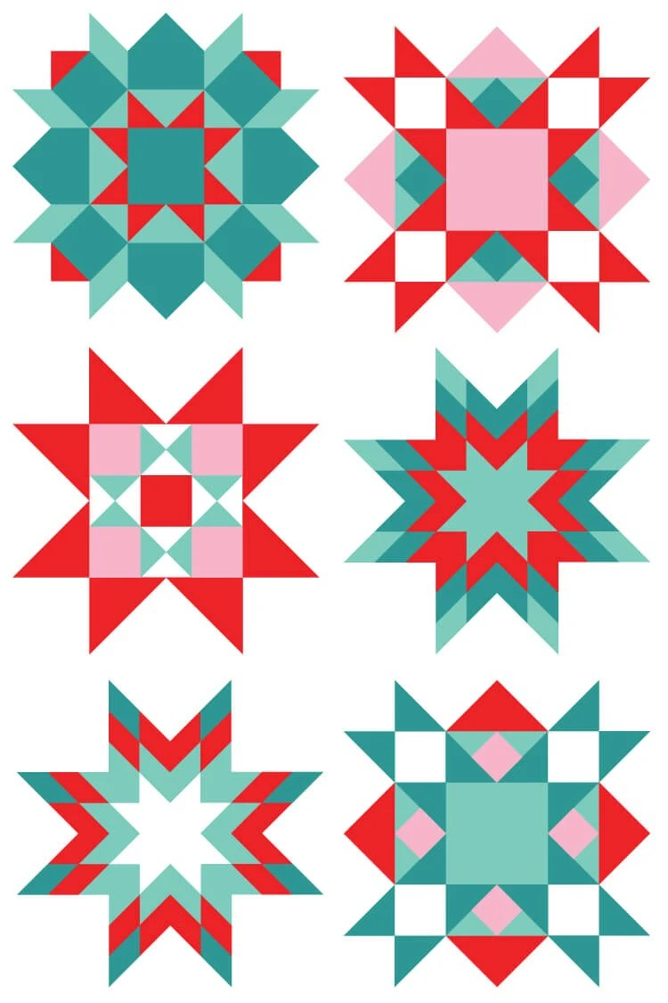 This quirky Christmas quilt block clip art set is perfect for all of your creative projects! Use them on Christmas cards, quilt labels, holiday quilt bee fliers, and more!