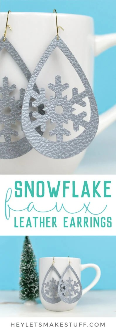 Use your Cricut to make these trendy these faux leather earrings—sweet snowflakes that are perfect for the holidays (without being obnoxious!). An easy Christmas jewelry project. via @heyletsmakestuf